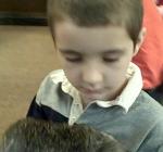 Examining a rabbit skin